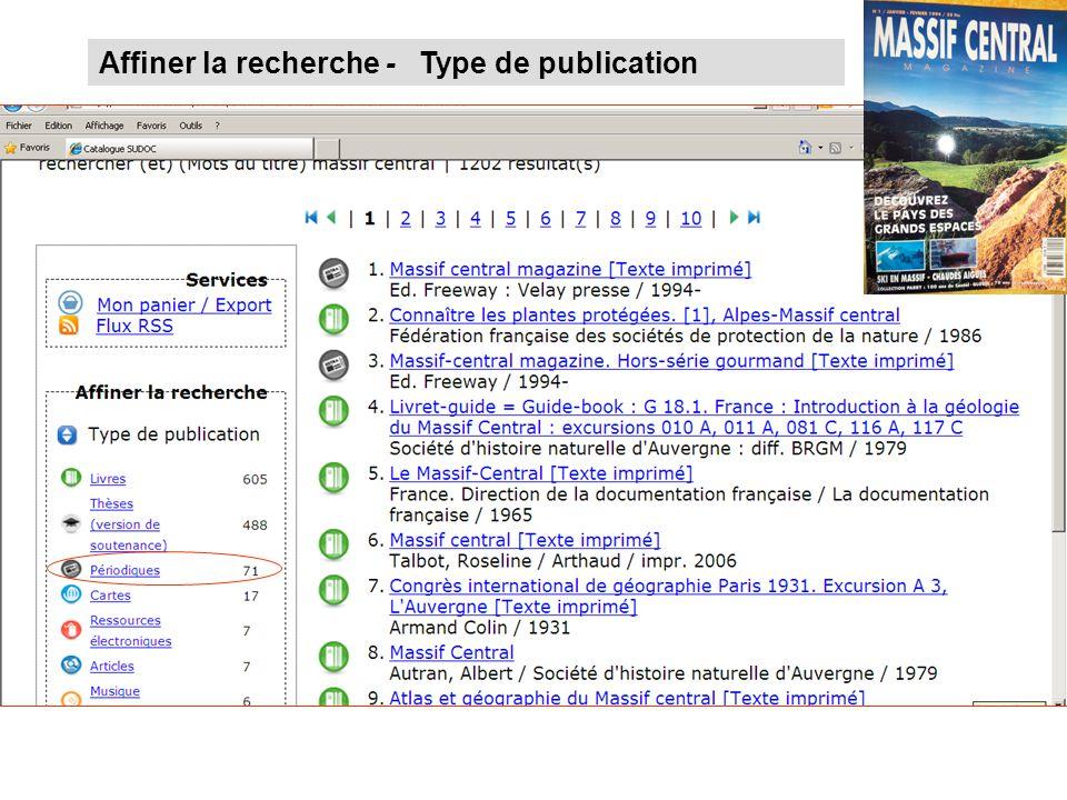 Affiner la recherche - Type de publication