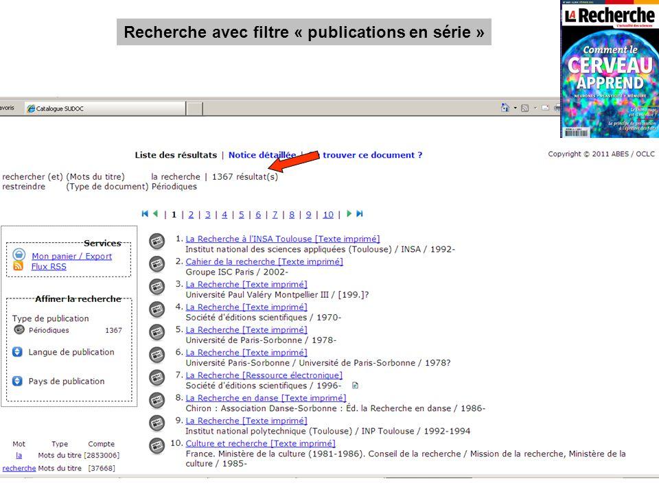 Recherche avec filtre « publications en série »