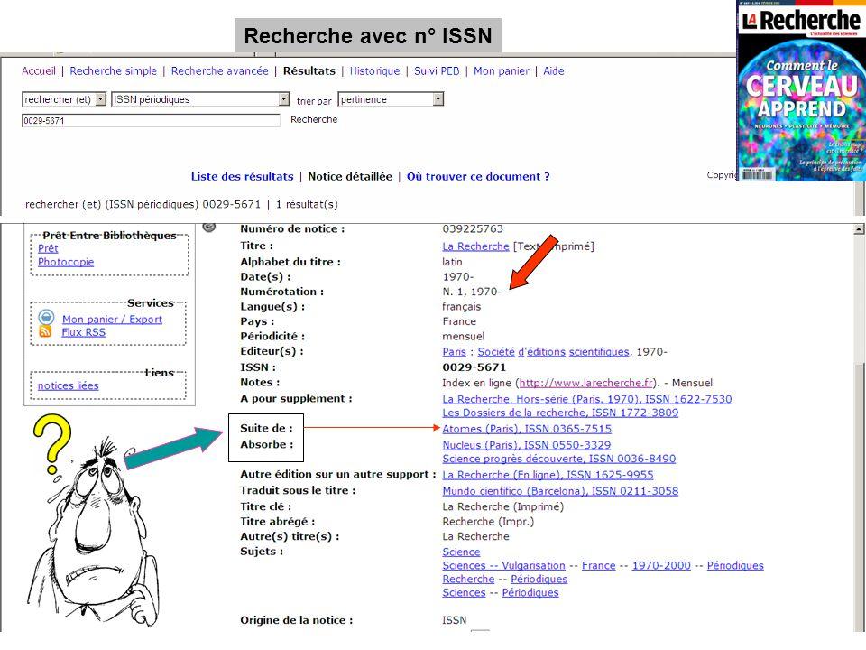 Recherche avec n° ISSN