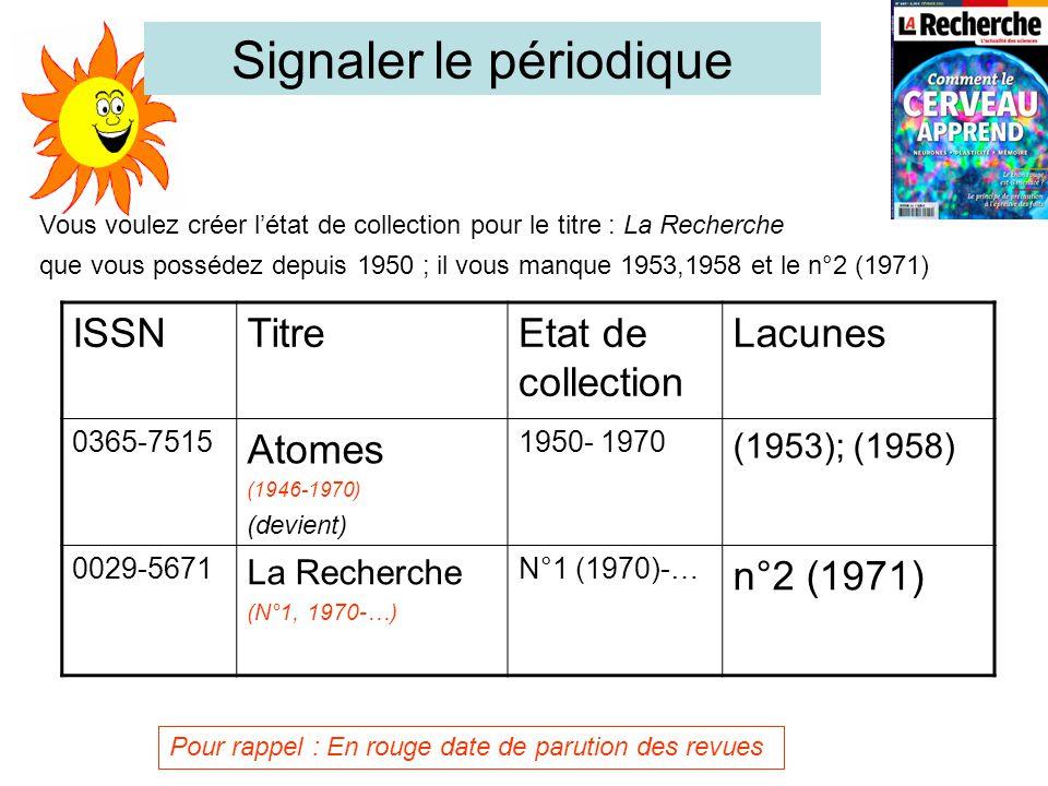 Vous voulez créer l'état de collection pour le titre : La Recherche que vous possédez depuis 1950 ; il vous manque 1953,1958 et le n°2 (1971) ISSNTitreEtat de collection Lacunes 0365-7515 Atomes (1946-1970) (devient) 1950- 1970 (1953); (1958) 0029-5671 La Recherche (N°1, 1970-…) N°1 (1970)-… n°2 (1971) Signaler le périodique Pour rappel : En rouge date de parution des revues