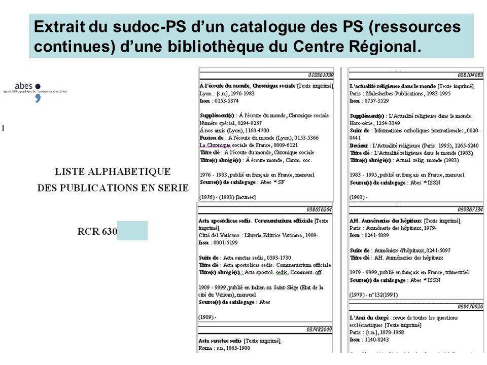 Extrait du sudoc-PS d'un catalogue des PS (ressources continues) d'une bibliothèque du Centre Régional.