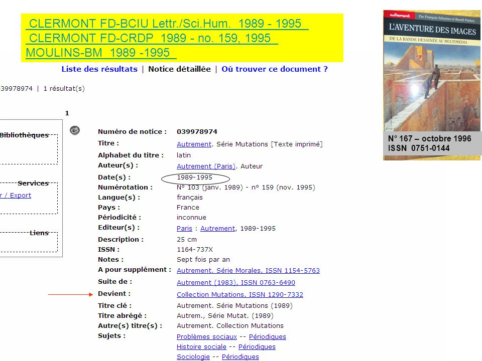 N° 167 – octobre 1996 ISSN 0751-0144 CLERMONT FD-BCIU Lettr./Sci.Hum.