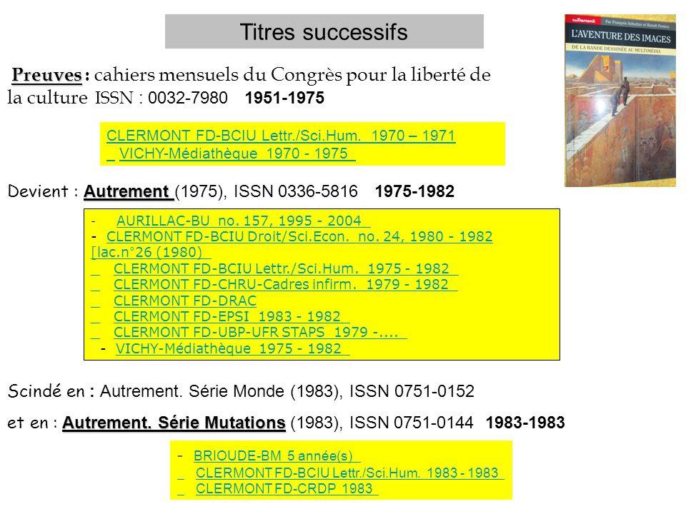 Preuves Preuves : cahiers mensuels du Congrès pour la liberté de la culture ISSN : 0032-7980 1951-1975 Autrement Devient : Autrement (1975), ISSN 0336-5816 1975-1982 Scindé en : Autrement.