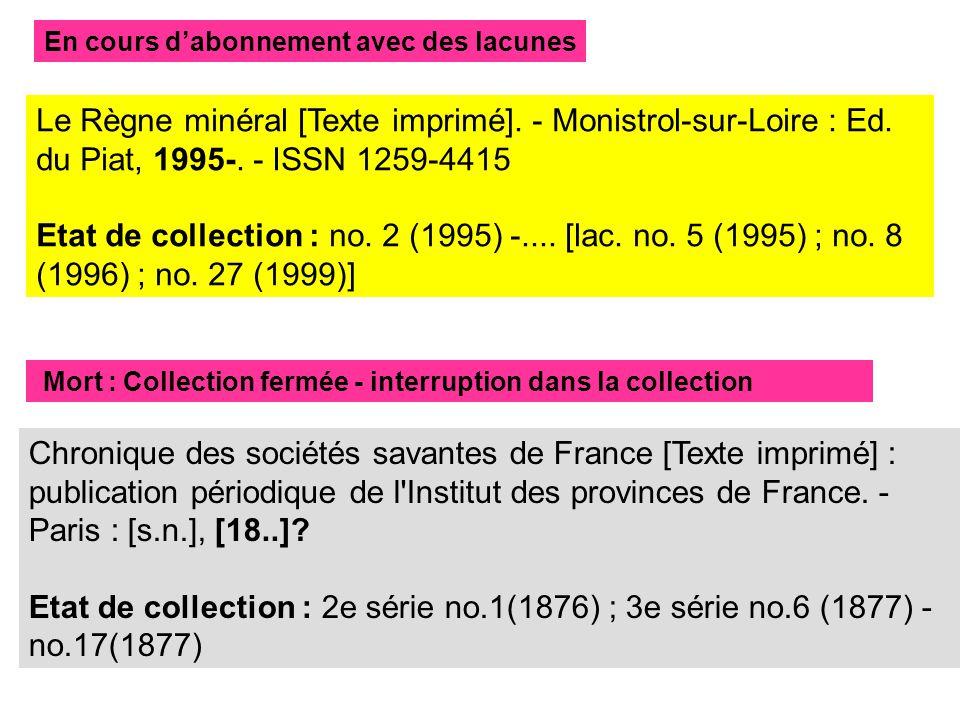 Le Règne minéral [Texte imprimé]. - Monistrol-sur-Loire : Ed.