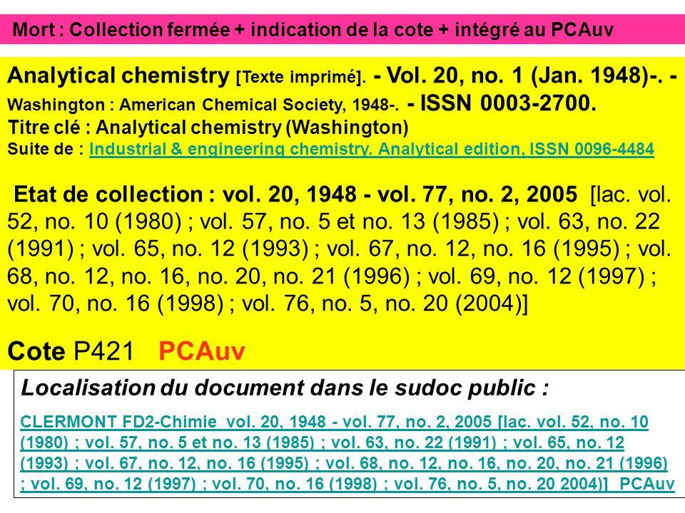 Mort : Collection fermée + indication de la cote + intégré au PCAuv Localisation du document dans le sudoc public : CLERMONT FD2-Chimie vol.
