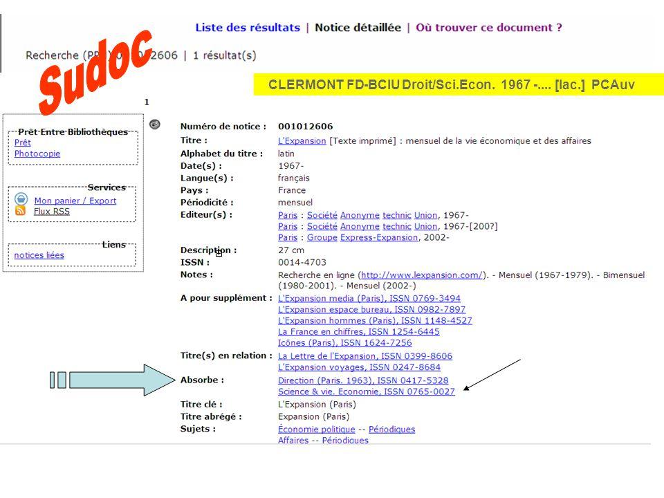 CLERMONT FD-BCIU Droit/Sci.Econ. 1967 -.... [lac.] PCAuv