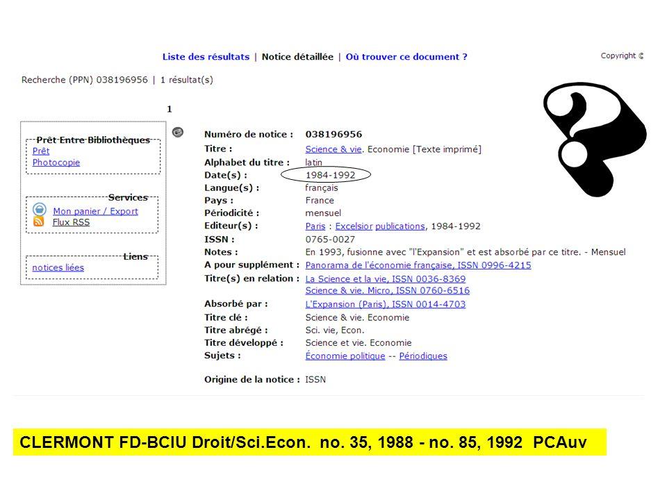 CLERMONT FD-BCIU Droit/Sci.Econ. no. 35, 1988 - no. 85, 1992 PCAuv