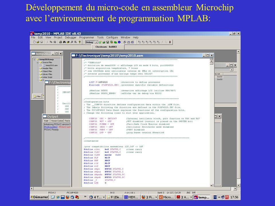 Développement du micro-code en assembleur Microchip avec l'environnement de programmation MPLAB: