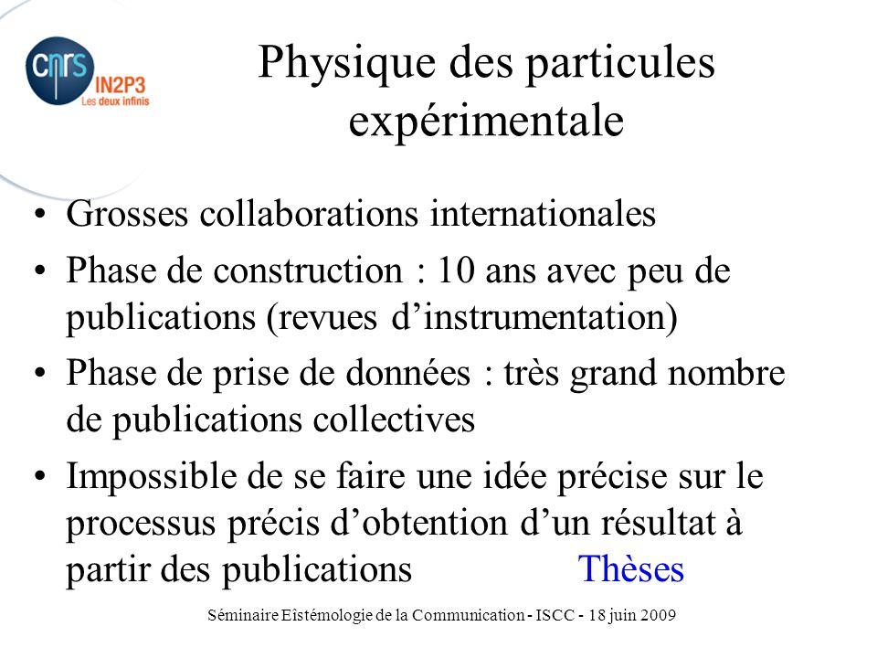 Séminaire Eîstémologie de la Communication - ISCC - 18 juin 2009 Physique des particules expérimentale Grosses collaborations internationales Phase de