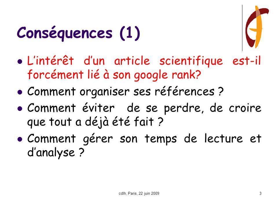 cdlh, Paris, 22 juin 20093 Conséquences (1) L'intérêt d'un article scientifique est-il forcément lié à son google rank.