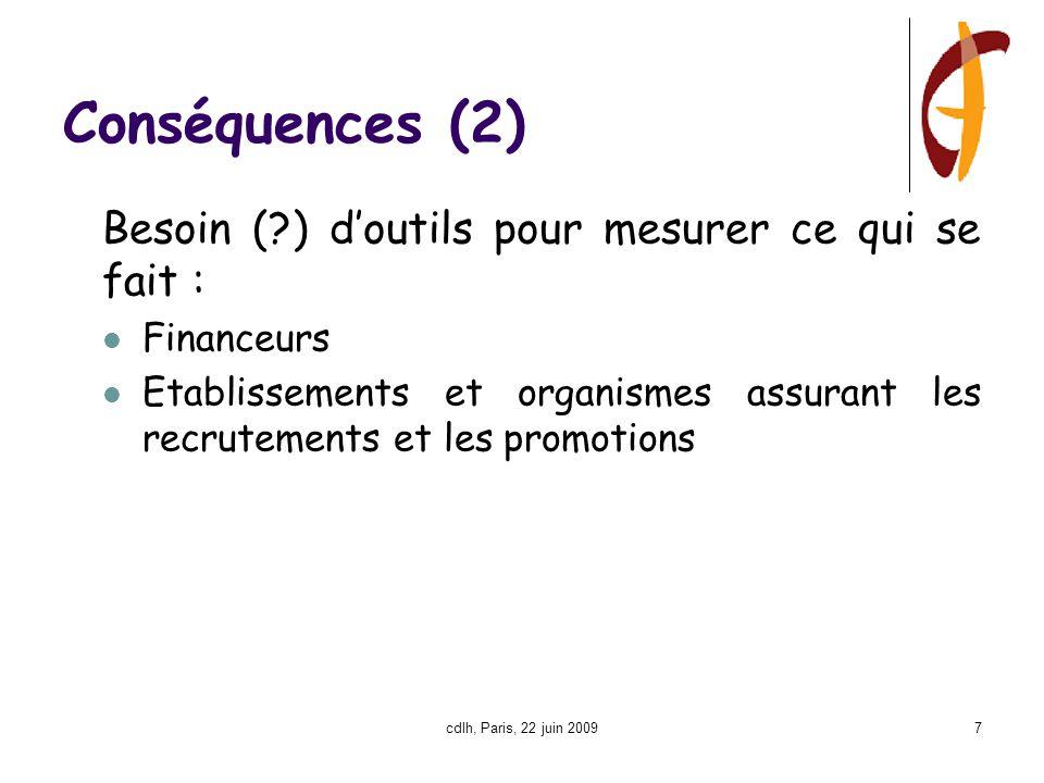 cdlh, Paris, 22 juin 20097 Conséquences (2) Besoin (?) d'outils pour mesurer ce qui se fait : Financeurs Etablissements et organismes assurant les recrutements et les promotions