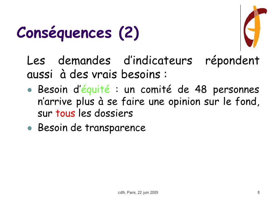 cdlh, Paris, 22 juin 20098 Conséquences (2) Les demandes d'indicateurs répondent aussi à des vrais besoins : Besoin d'équité : un comité de 48 personnes n'arrive plus à se faire une opinion sur le fond, sur tous les dossiers Besoin de transparence
