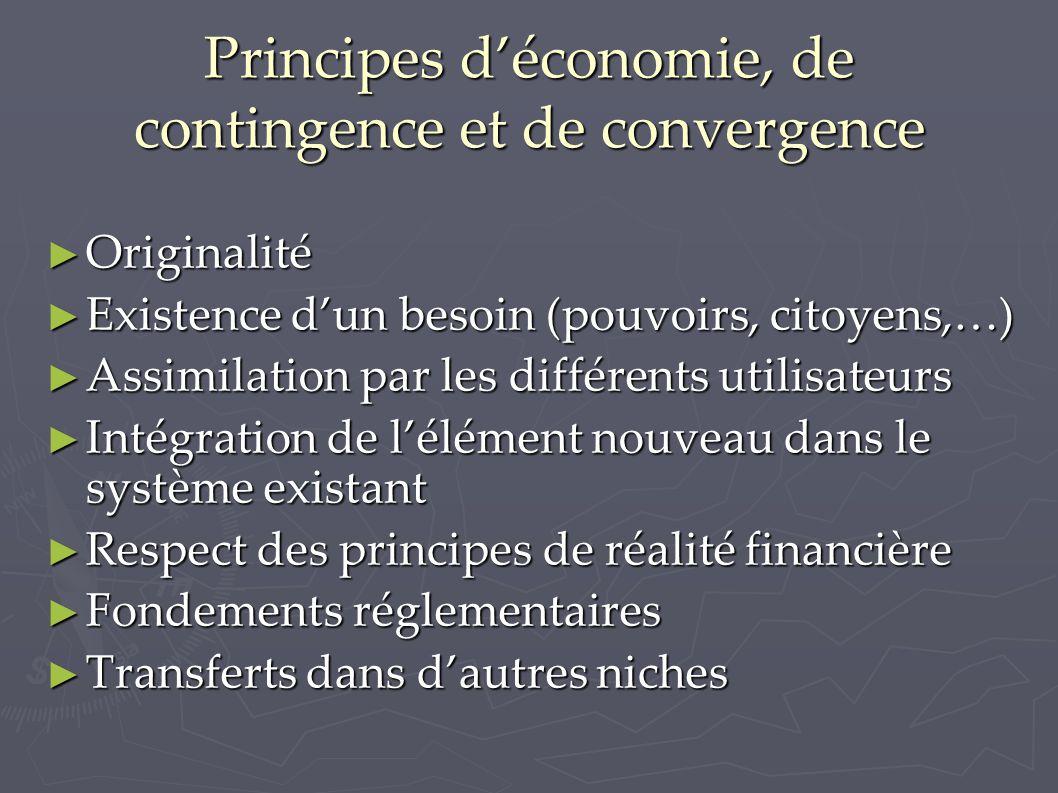 Principes d'économie, de contingence et de convergence ► Originalité ► Existence d'un besoin (pouvoirs, citoyens,…) ► Assimilation par les différents
