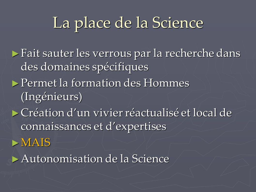 La place de la Science ► Fait sauter les verrous par la recherche dans des domaines spécifiques ► Permet la formation des Hommes (Ingénieurs) ► Créati