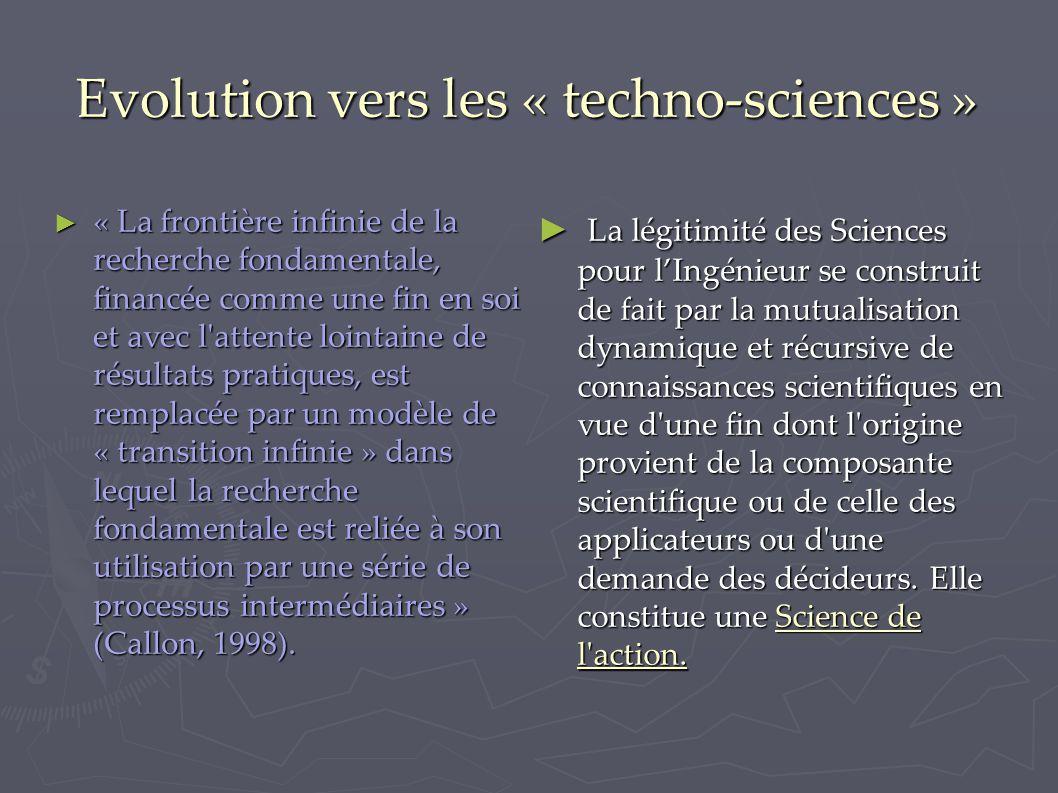 Evolution vers les « techno-sciences » ► « La frontière infinie de la recherche fondamentale, financée comme une fin en soi et avec l attente lointaine de résultats pratiques, est remplacée par un modèle de « transition infinie » dans lequel la recherche fondamentale est reliée à son utilisation par une série de processus intermédiaires » (Callon, 1998).