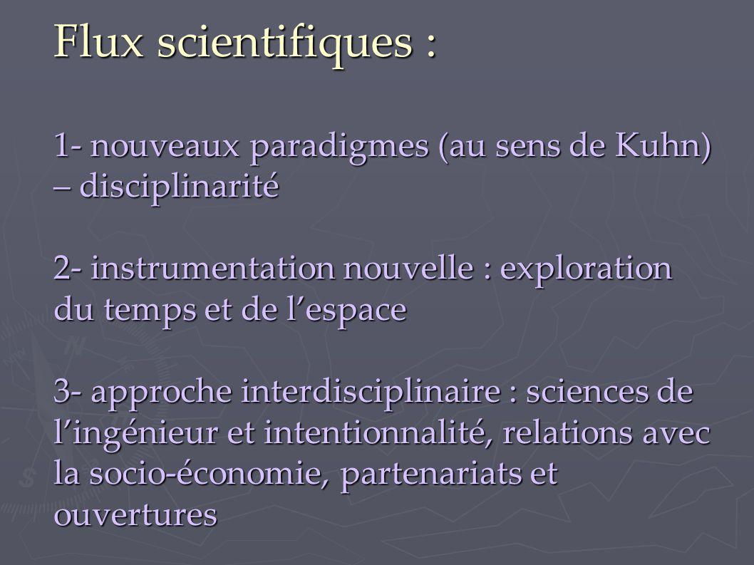 Flux scientifiques : 1- nouveaux paradigmes (au sens de Kuhn) – disciplinarité 2- instrumentation nouvelle : exploration du temps et de l'espace 3- approche interdisciplinaire : sciences de l'ingénieur et intentionnalité, relations avec la socio-économie, partenariats et ouvertures