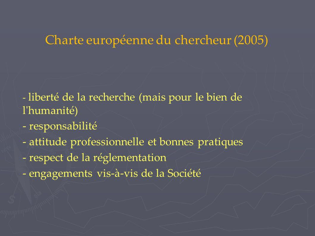 Charte européenne du chercheur (2005)  - liberté de la recherche (mais pour le bien de l humanité)  - responsabilité - attitude professionnelle et bonnes pratiques - respect de la réglementation - engagements vis-à-vis de la Société