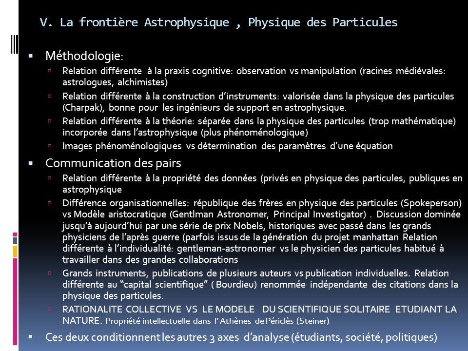 V. La frontière Astrophysique, Physique des Particules  Méthodologie:  Relation différente à la praxis cognitive: observation vs manipulation (racin
