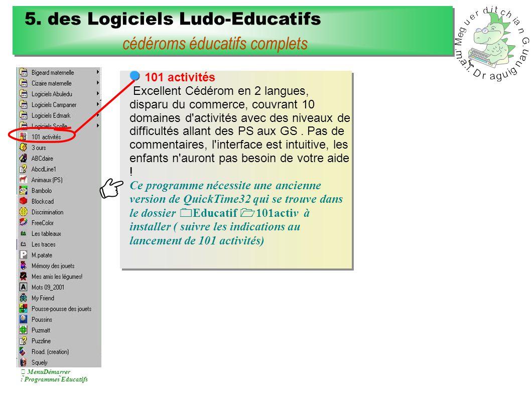 101 activités Excellent Cédérom en 2 langues, disparu du commerce, couvrant 10 domaines d activités avec des niveaux de difficultés allant des PS aux GS.