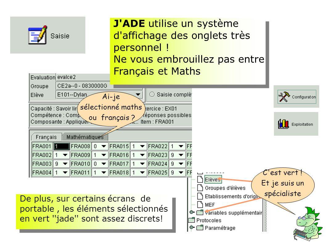 De plus, sur certains écrans de portable, les éléments sélectionnés en vert ''jade'' sont assez discrets! J'ADE utilise un système d'affichage des ong