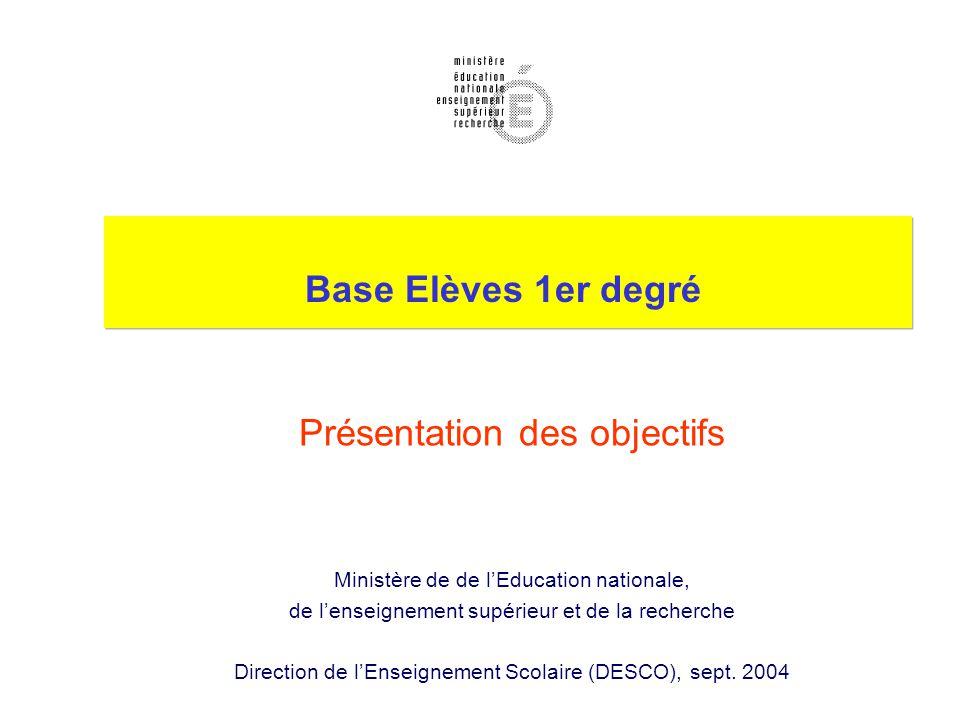 Base Elèves 1er degré Présentation des objectifs Ministère de de l'Education nationale, de l'enseignement supérieur et de la recherche Direction de l'Enseignement Scolaire (DESCO), sept.