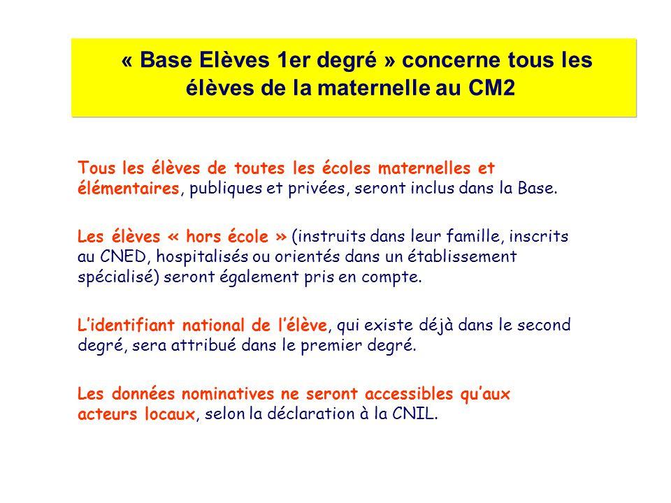 « Base Elèves 1er degré » concerne tous les élèves de la maternelle au CM2 Tous les élèves de toutes les écoles maternelles et élémentaires, publiques et privées, seront inclus dans la Base.
