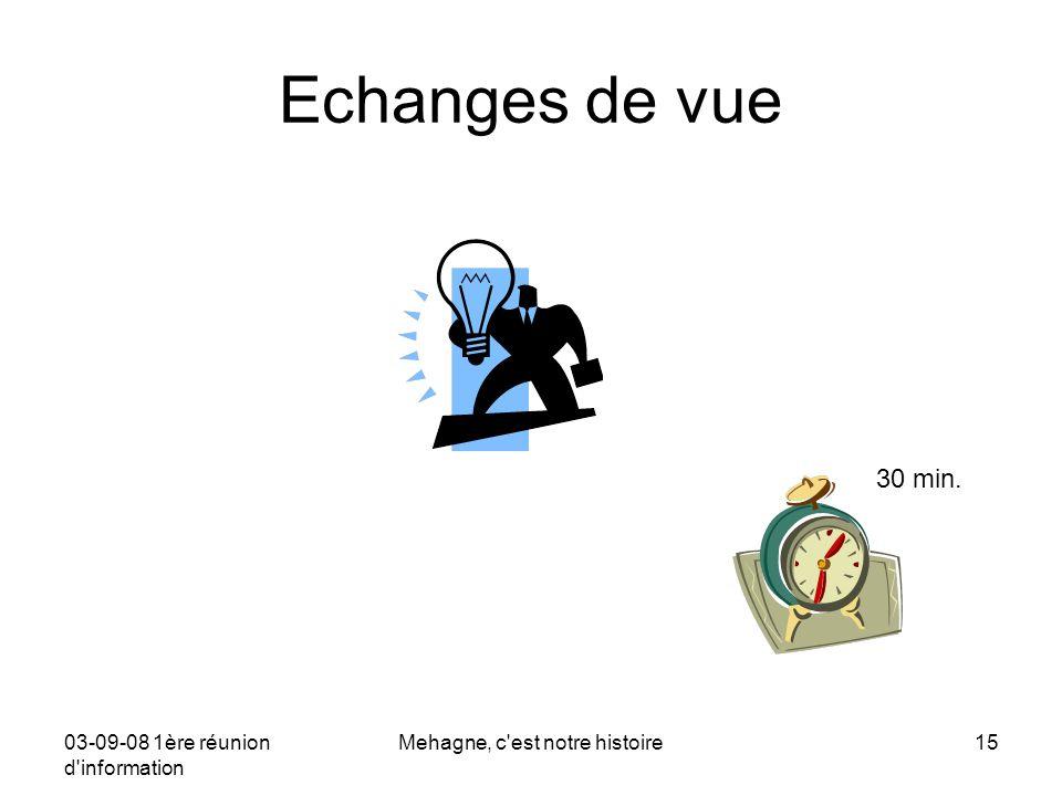 03-09-08 1ère réunion d information Mehagne, c est notre histoire15 Echanges de vue 30 min.