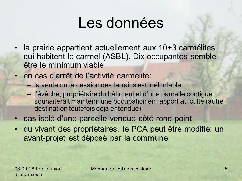 03-09-08 1ère réunion d information Mehagne, c est notre histoire5 Les données la prairie appartient actuellement aux 10+3 carmélites qui habitent le carmel (ASBL).