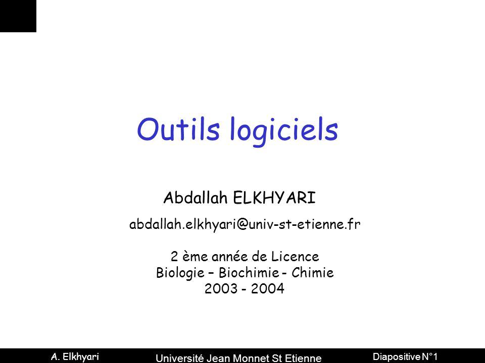 Université Jean Monnet St Etienne A. Elkhyari Diapositive N°2 PowerPoint