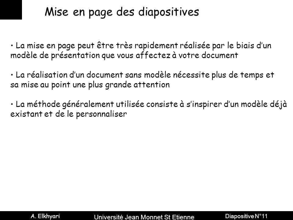 Université Jean Monnet St Etienne A. Elkhyari Diapositive N°11 Mise en page des diapositives La mise en page peut être très rapidement réalisée par le