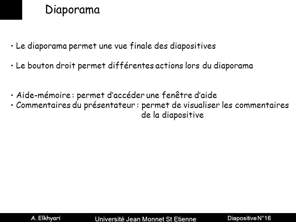 Université Jean Monnet St Etienne A. Elkhyari Diapositive N°16 Diaporama Le diaporama permet une vue finale des diapositives Le bouton droit permet di