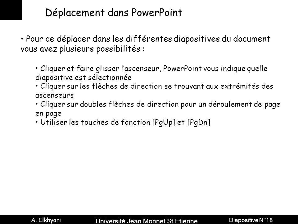 Université Jean Monnet St Etienne A. Elkhyari Diapositive N°18 Déplacement dans PowerPoint Pour ce déplacer dans les différentes diapositives du docum