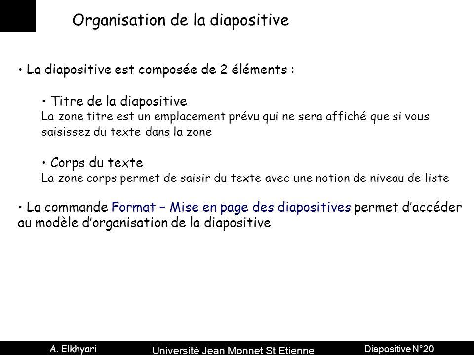 Université Jean Monnet St Etienne A. Elkhyari Diapositive N°20 Organisation de la diapositive La diapositive est composée de 2 éléments : Titre de la