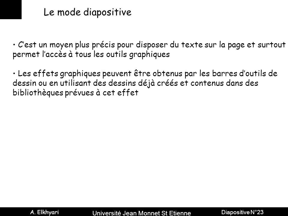 Université Jean Monnet St Etienne A. Elkhyari Diapositive N°23 Le mode diapositive C'est un moyen plus précis pour disposer du texte sur la page et su