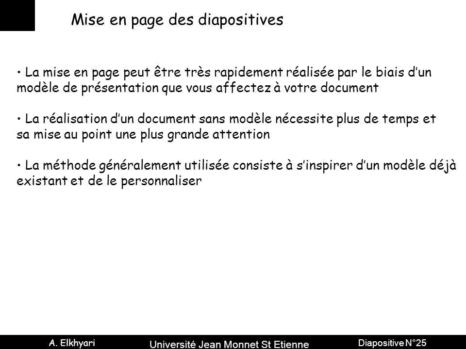 Université Jean Monnet St Etienne A. Elkhyari Diapositive N°25 Mise en page des diapositives La mise en page peut être très rapidement réalisée par le