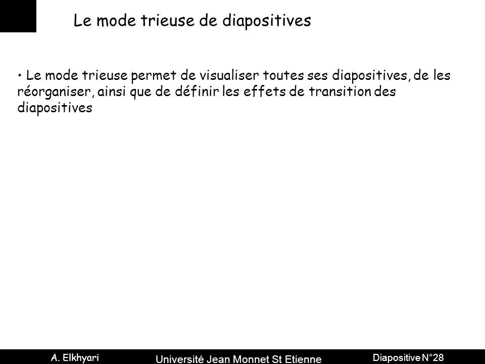 Université Jean Monnet St Etienne A. Elkhyari Diapositive N°28 Le mode trieuse de diapositives Le mode trieuse permet de visualiser toutes ses diaposi