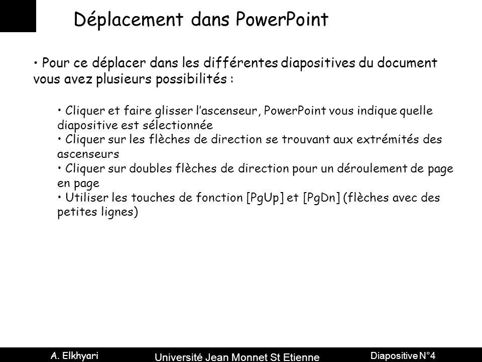 Université Jean Monnet St Etienne A. Elkhyari Diapositive N°4 Déplacement dans PowerPoint Pour ce déplacer dans les différentes diapositives du docume