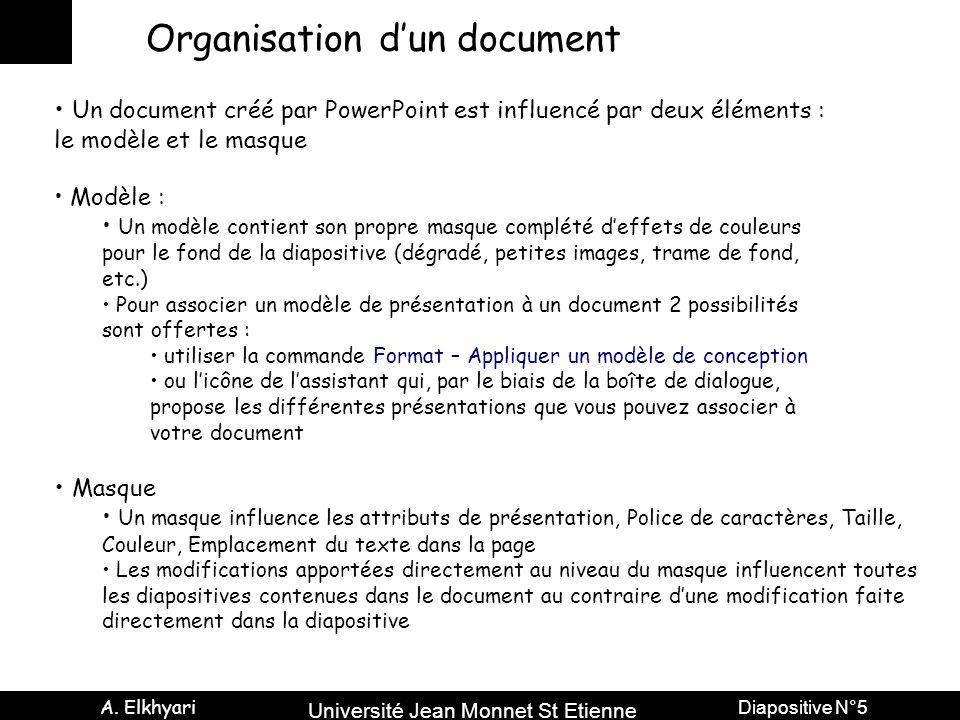 Université Jean Monnet St Etienne A. Elkhyari Diapositive N°5 Organisation d'un document Un document créé par PowerPoint est influencé par deux élémen