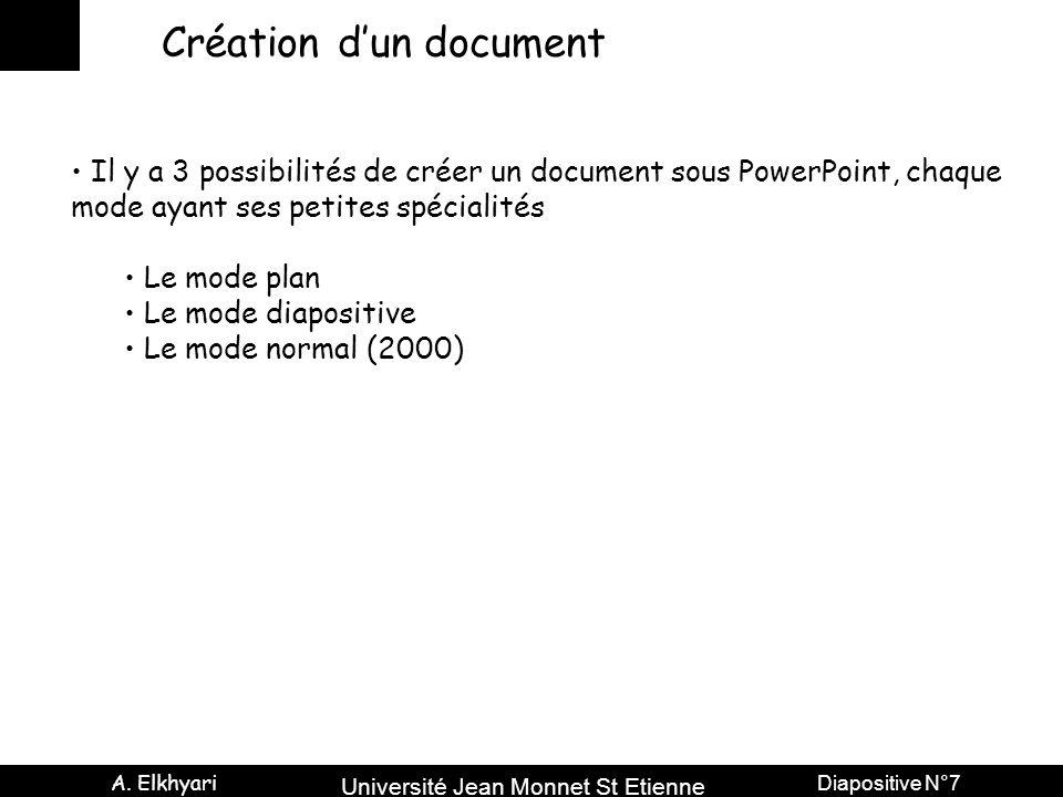 Université Jean Monnet St Etienne A. Elkhyari Diapositive N°7 Création d'un document Il y a 3 possibilités de créer un document sous PowerPoint, chaqu
