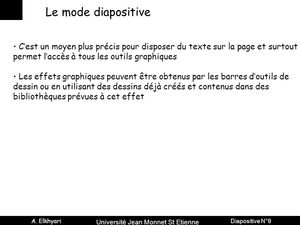 Université Jean Monnet St Etienne A. Elkhyari Diapositive N°9 Le mode diapositive C'est un moyen plus précis pour disposer du texte sur la page et sur
