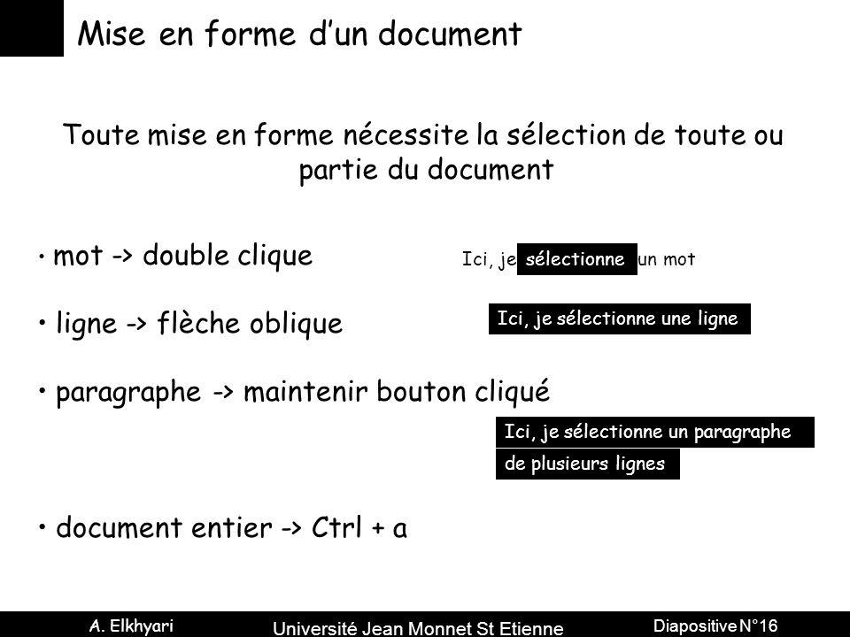 Université Jean Monnet St Etienne A. Elkhyari Diapositive N°16 Mise en forme d'un document Toute mise en forme nécessite la sélection de toute ou part