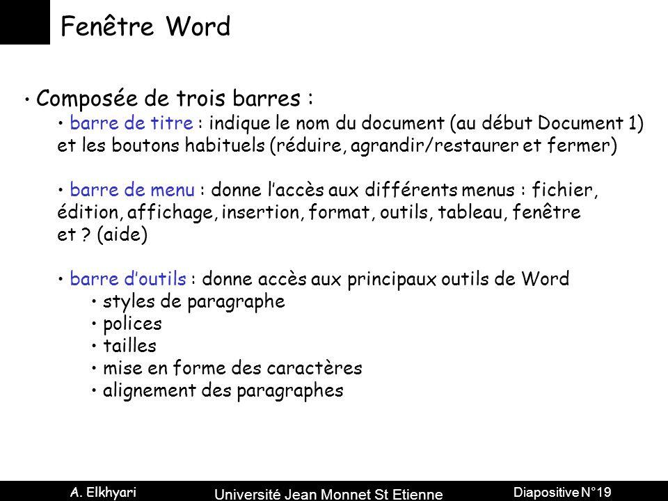 Université Jean Monnet St Etienne A. Elkhyari Diapositive N°19 Fenêtre Word Composée de trois barres : barre de titre : indique le nom du document (au