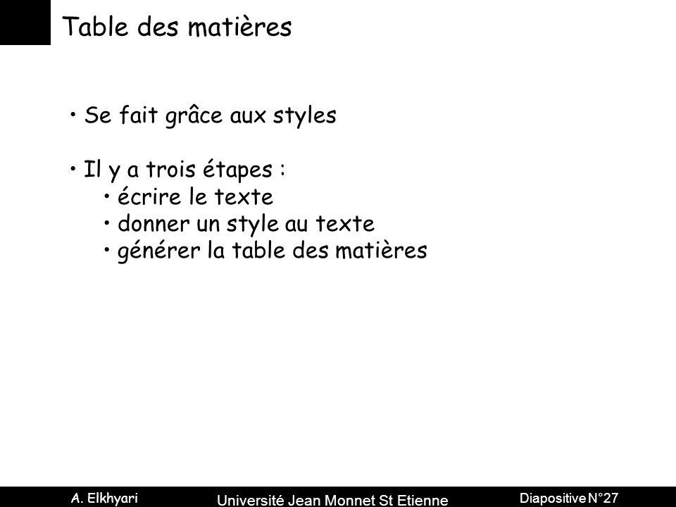 Université Jean Monnet St Etienne A. Elkhyari Diapositive N°27 Table des matières Se fait grâce aux styles Il y a trois étapes : écrire le texte donne