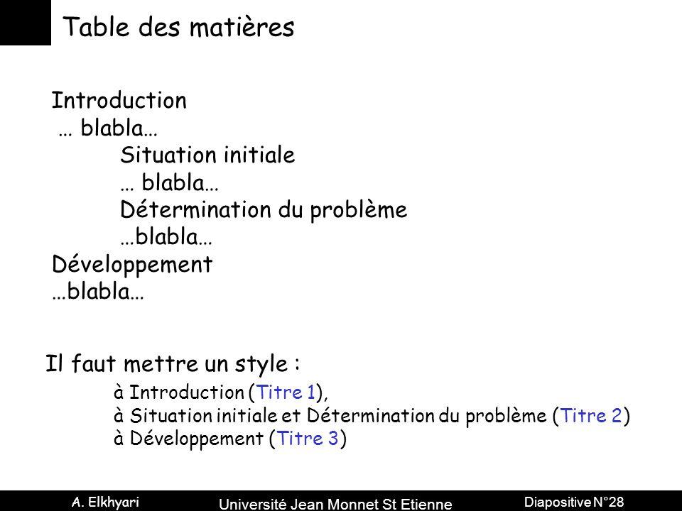 Université Jean Monnet St Etienne A. Elkhyari Diapositive N°28 Table des matières Introduction … blabla… Situation initiale … blabla… Détermination du