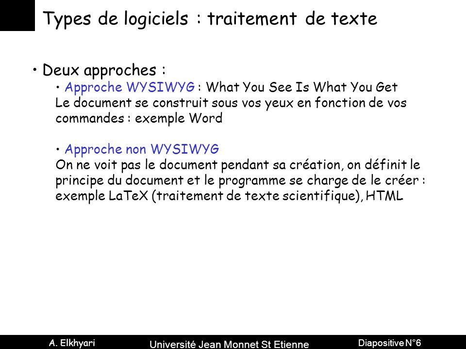 Université Jean Monnet St Etienne A. Elkhyari Diapositive N°6 Types de logiciels : traitement de texte Deux approches : Approche WYSIWYG : What You Se
