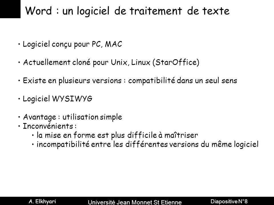 Université Jean Monnet St Etienne A. Elkhyari Diapositive N°8 Word : un logiciel de traitement de texte Logiciel conçu pour PC, MAC Actuellement cloné
