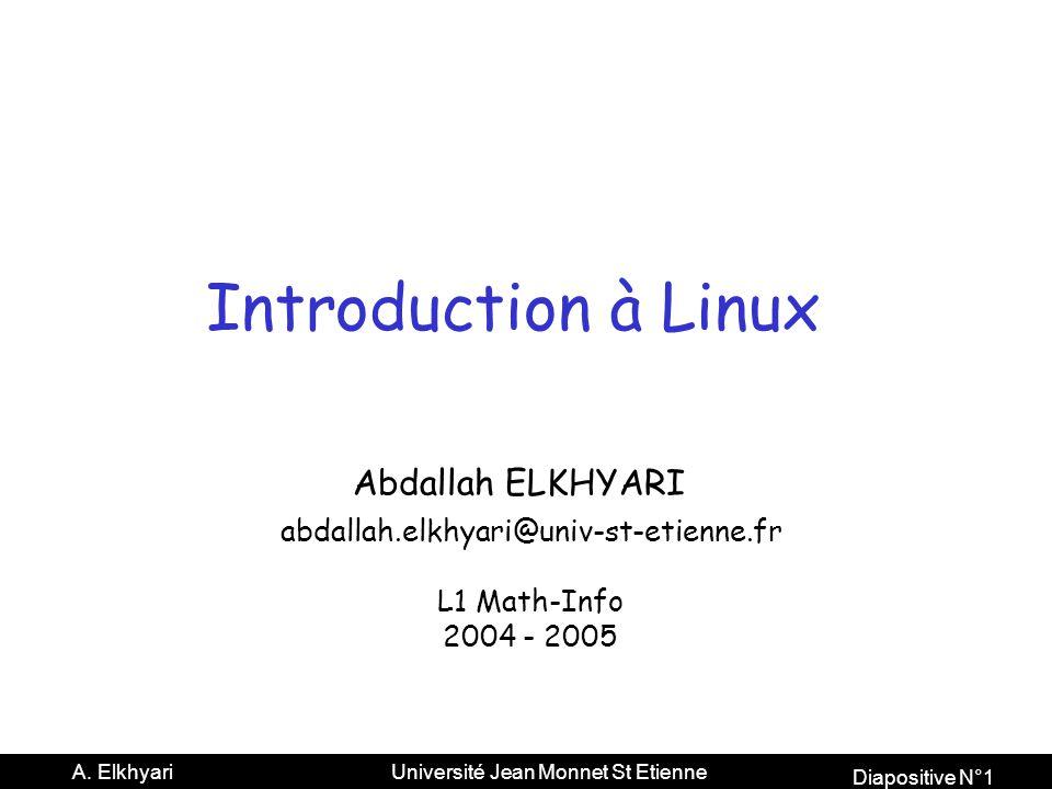 Diapositive N°2 A. Elkhyari Université Jean Monnet St Etienne Le traitement du texte Latex