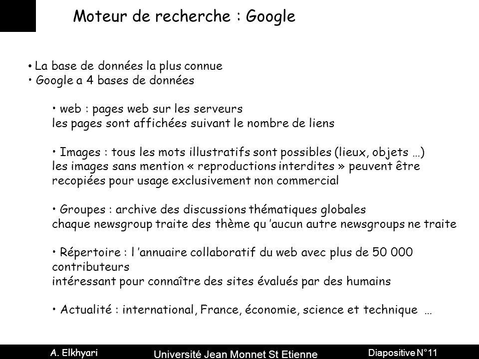Université Jean Monnet St Etienne A. Elkhyari Diapositive N°11 Moteur de recherche : Google La base de données la plus connue Google a 4 bases de donn