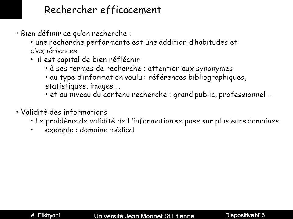 Université Jean Monnet St Etienne A. Elkhyari Diapositive N°6 Rechercher efficacement Bien définir ce qu'on recherche : une recherche performante est