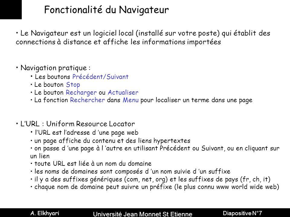 Université Jean Monnet St Etienne A. Elkhyari Diapositive N°7 Fonctionalité du Navigateur Le Navigateur est un logiciel local (installé sur votre post